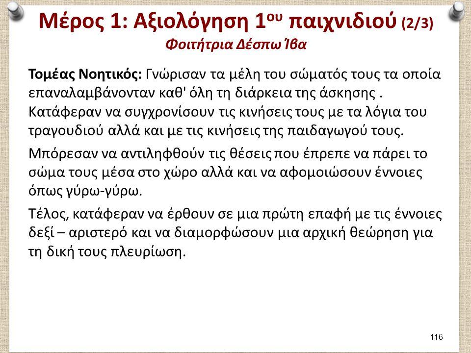 Μέρος 1: Αξιολόγηση 1ου παιχνιδιού (3/3) Φοιτήτρια Δέσπω Ίβα