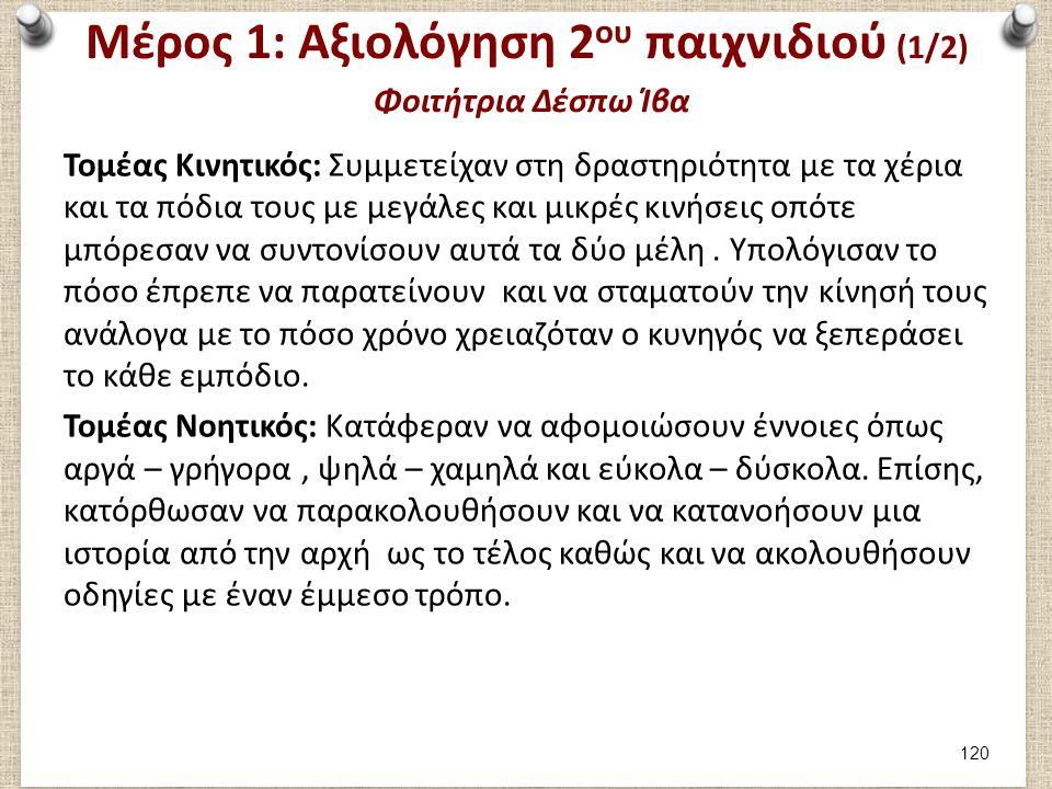 Μέρος 1: Αξιολόγηση 2ου παιχνιδιού (2/2) Φοιτήτρια Δέσπω Ίβα