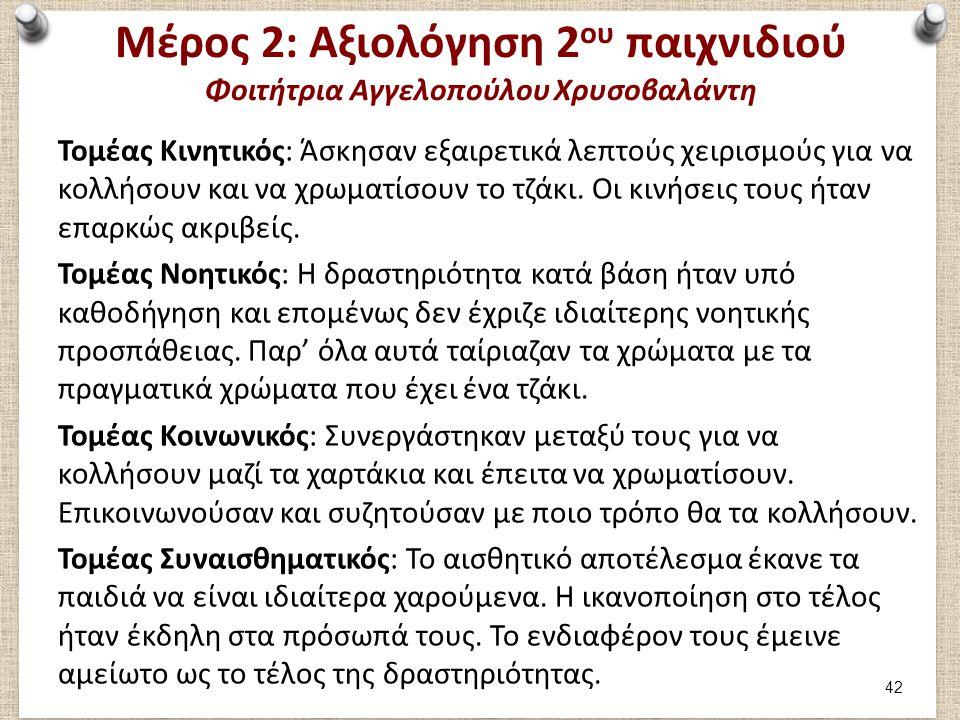 Μέρος 3: (1/2) Φοιτήτρια Αγγελοπούλου Χρυσοβαλάντη