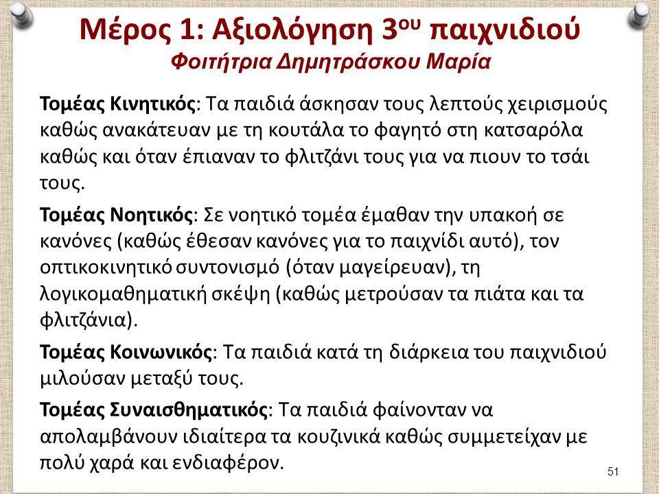 Μέρος 1: Καταγραφή 4ου παιχνιδιού Φοιτήτρια Δημητράσκου Μαρία