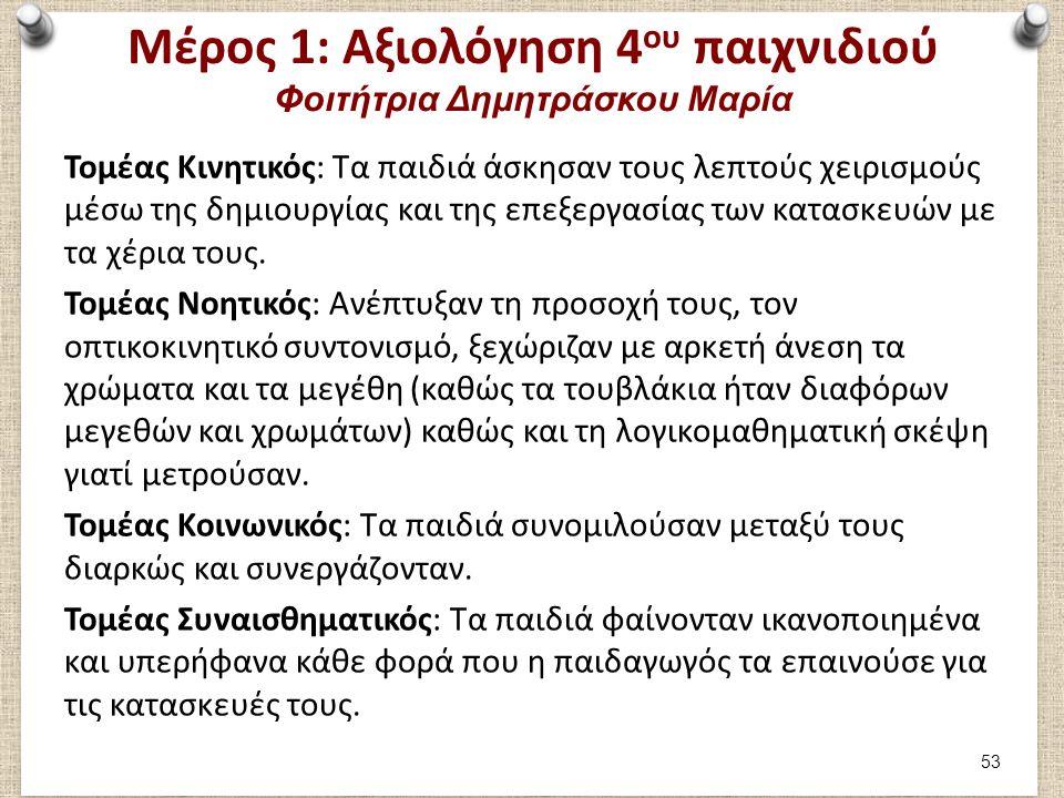Μέρος 2: Συμμετοχή στο 1ο παιχνίδι Φοιτήτρια Δημητράσκου Μαρία