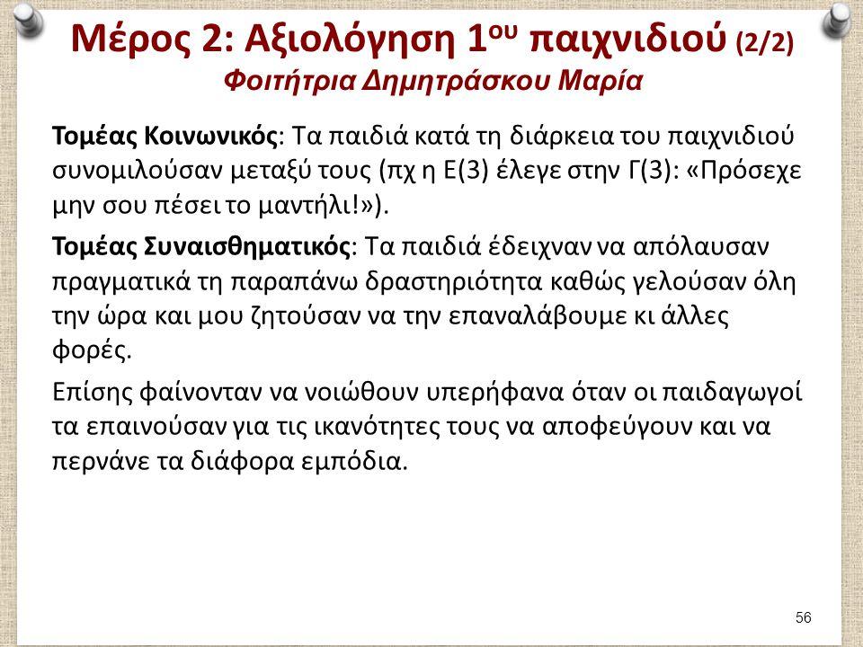 Μέρος 2: Συμμετοχή στο 2ο παιχνίδι Φοιτήτρια Δημητράσκου Μαρία