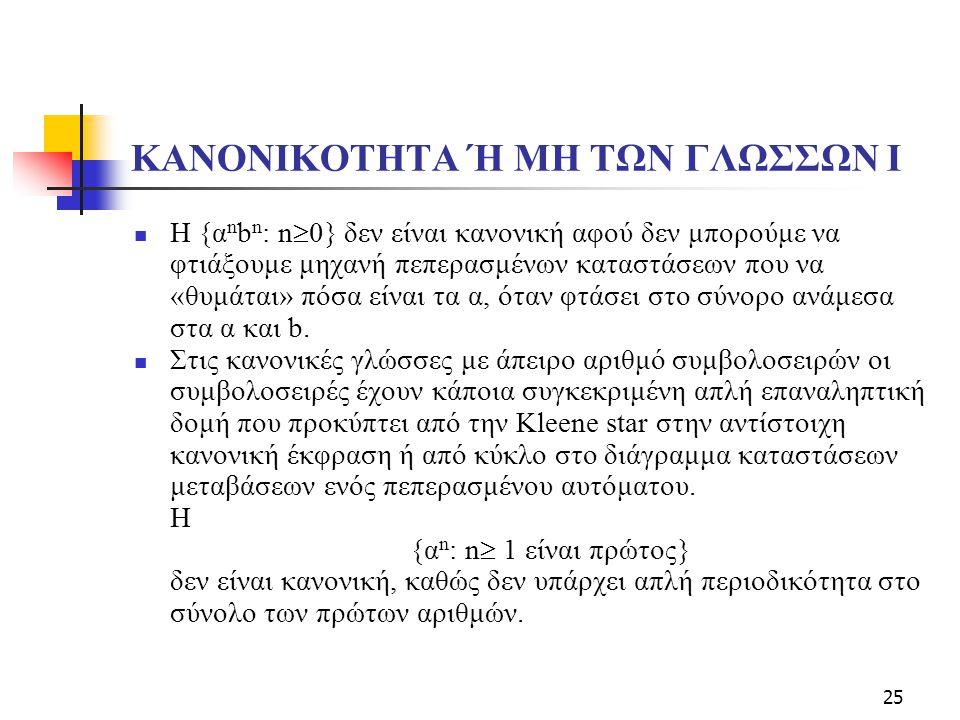 KANONIKOTHTA Ή ΜΗ ΤΩΝ ΓΛΩΣΣΩΝ Ι