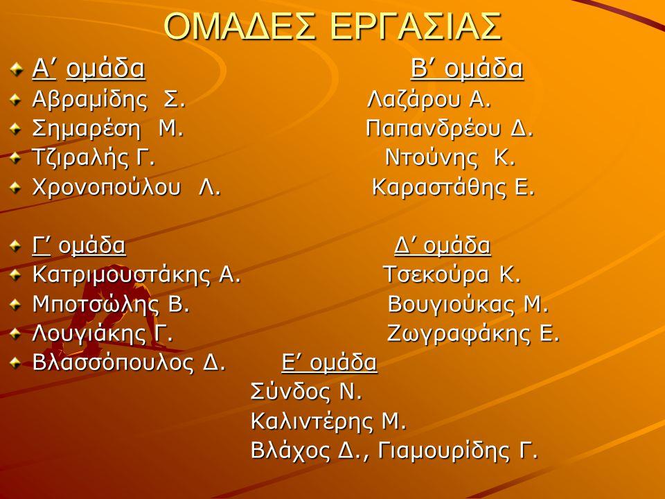ΟΜΑΔΕΣ ΕΡΓΑΣΙΑΣ Α' ομάδα Β' ομάδα Αβραμίδης Σ. Λαζάρου Α.