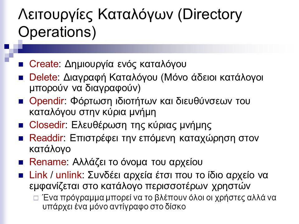Λειτουργίες Καταλόγων (Directory Operations)
