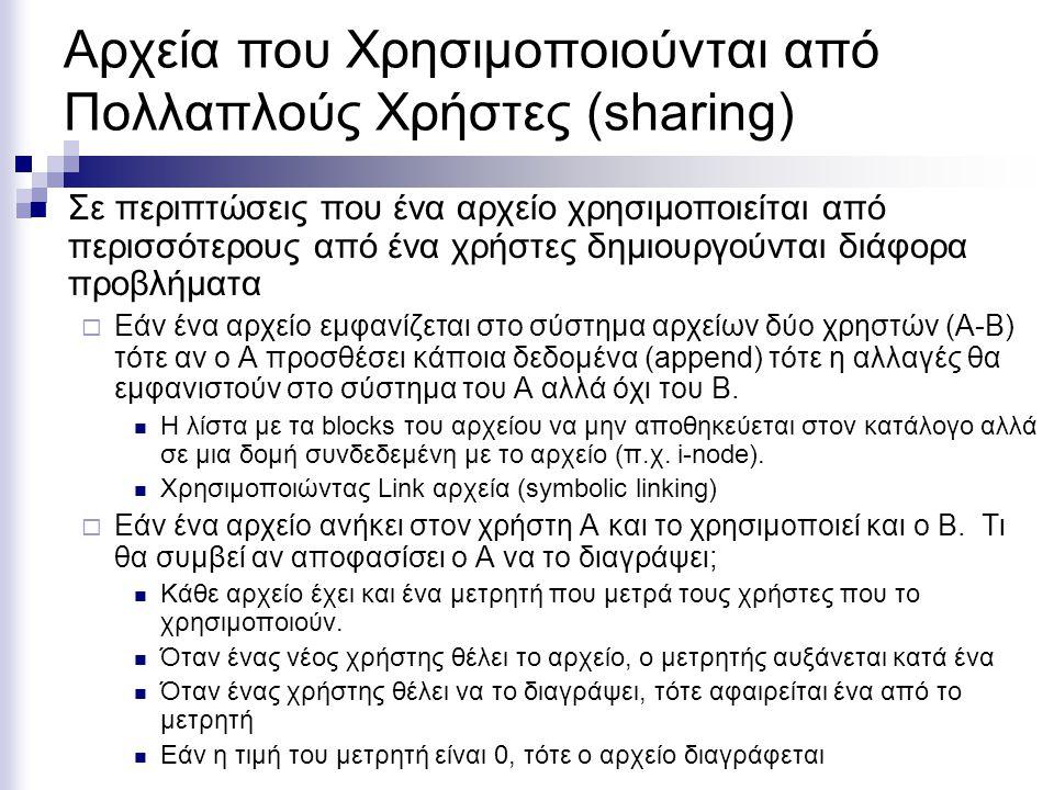 Αρχεία που Χρησιμοποιούνται από Πολλαπλούς Χρήστες (sharing)