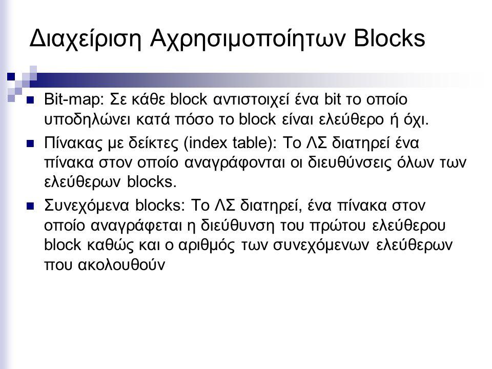 Διαχείριση Αχρησιμοποίητων Blocks