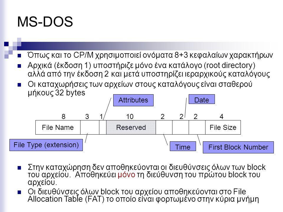 MS-DOS Όπως και το CP/M χρησιμοποιεί ονόματα 8+3 κεφαλαίων χαρακτήρων