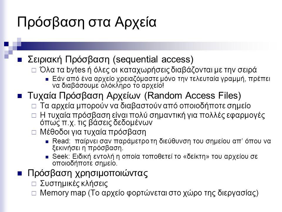Πρόσβαση στα Αρχεία Σειριακή Πρόσβαση (sequential access)