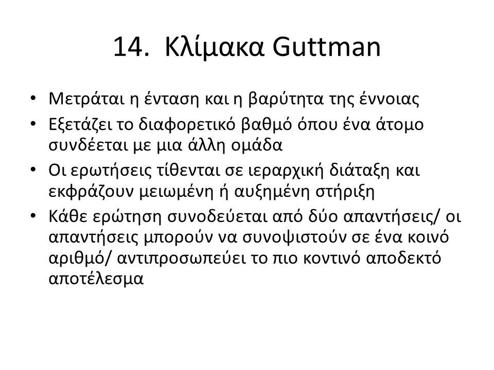 14. Κλίμακα Guttman Μετράται η ένταση και η βαρύτητα της έννοιας