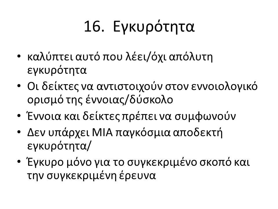 16. Εγκυρότητα καλύπτει αυτό που λέει/όχι απόλυτη εγκυρότητα