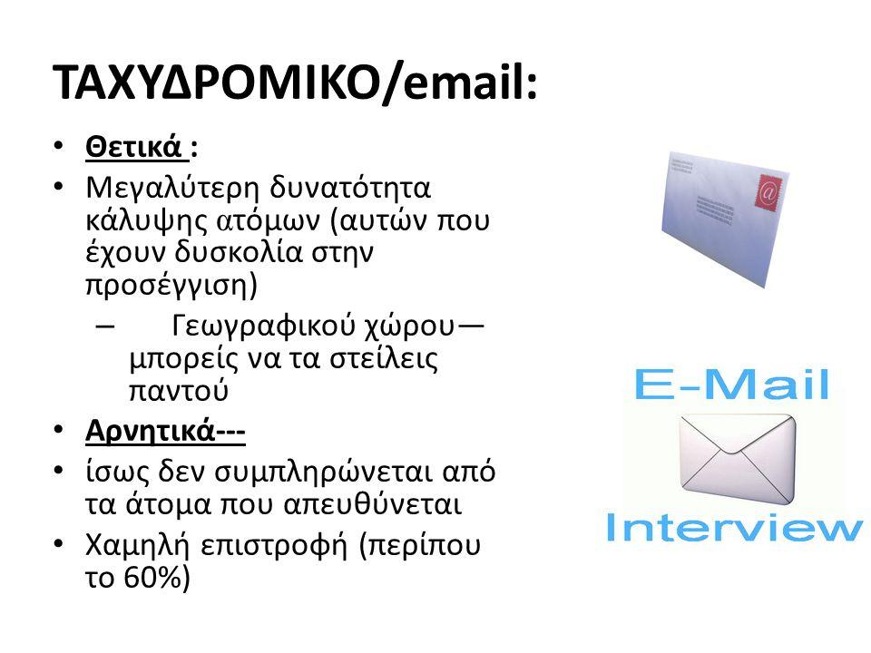 ΤΑΧΥΔΡΟΜΙΚΟ/email: Θετικά :