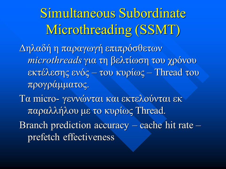 Simultaneous Subordinate Microthreading (SSMT)