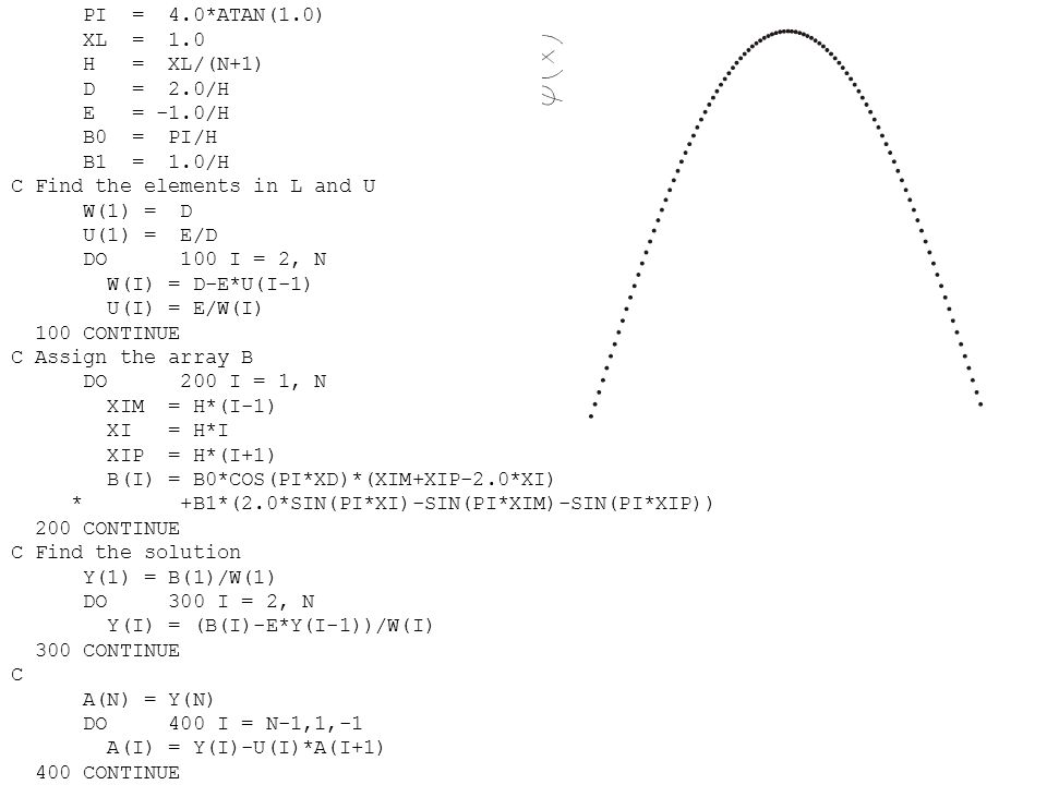 PI = 4. ATAN(1. 0) XL = 1. 0 H = XL/(N+1) D = 2. 0/H E = -1