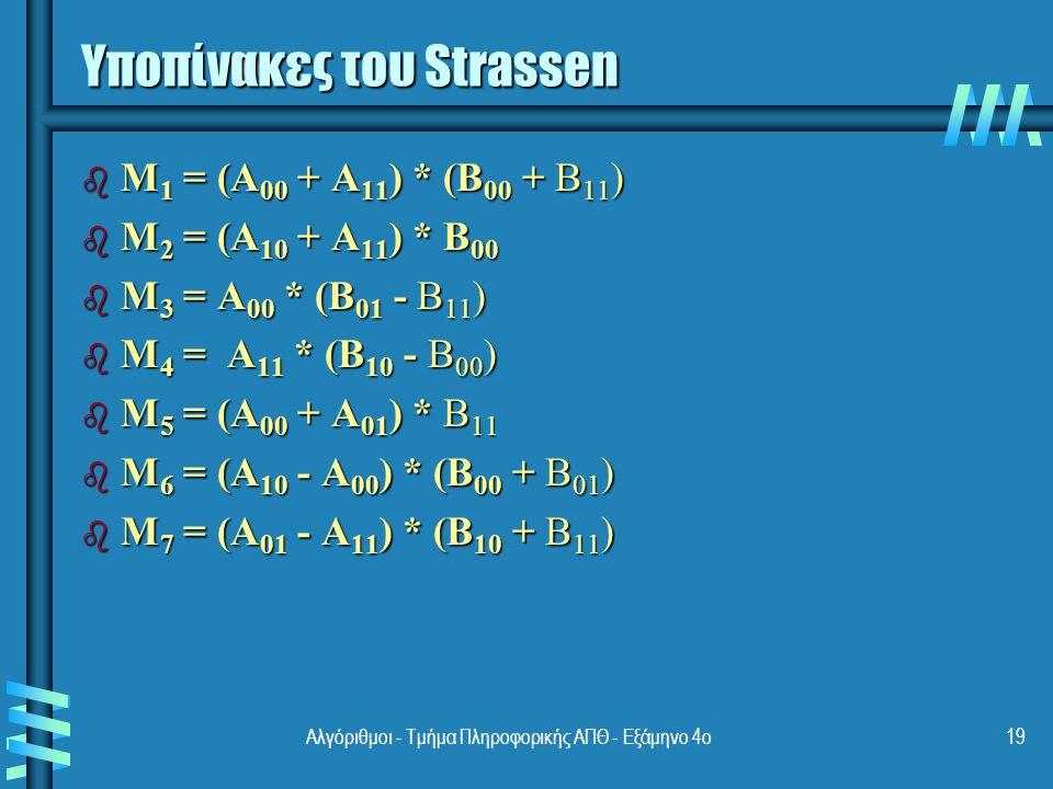 Υποπίνακες του Strassen