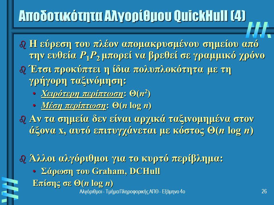 Αποδοτικότητα Αλγορίθμου QuickHull (4)