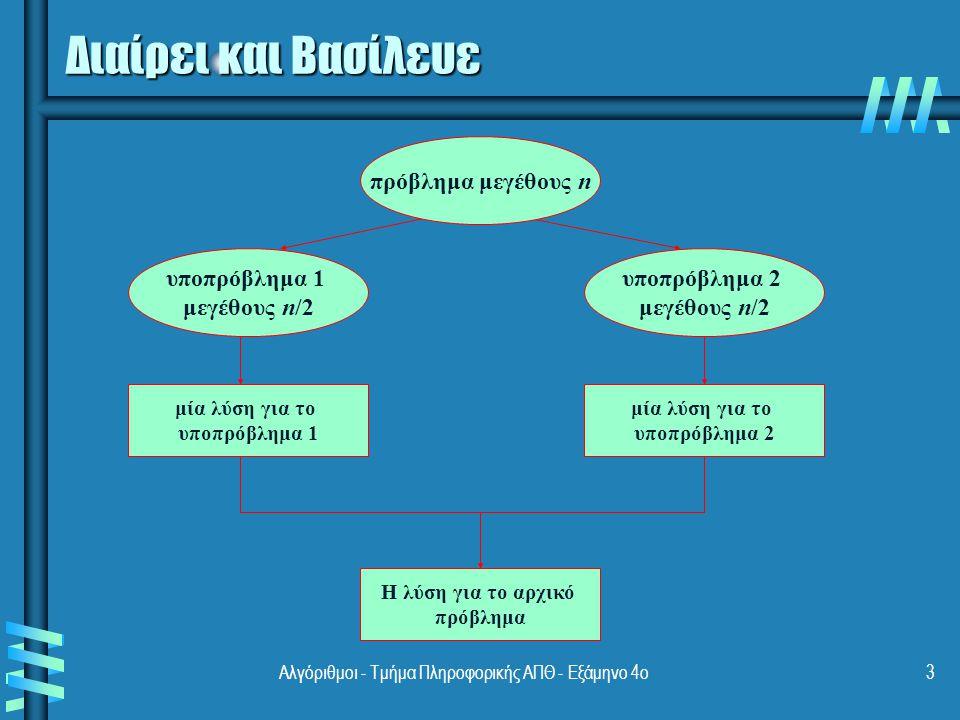 Διαίρει και Βασίλευε πρόβλημα μεγέθους n υποπρόβλημα 1 μεγέθους n/2
