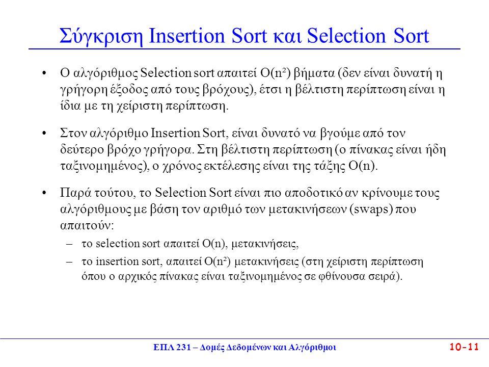 Σύγκριση Insertion Sort και Selection Sort