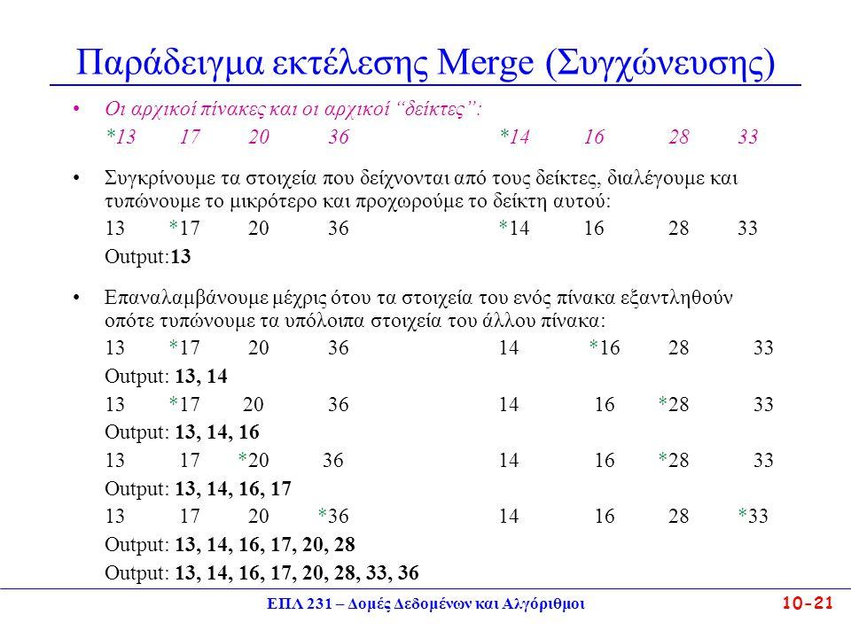 Παράδειγμα εκτέλεσης Μerge (Συγχώνευσης)