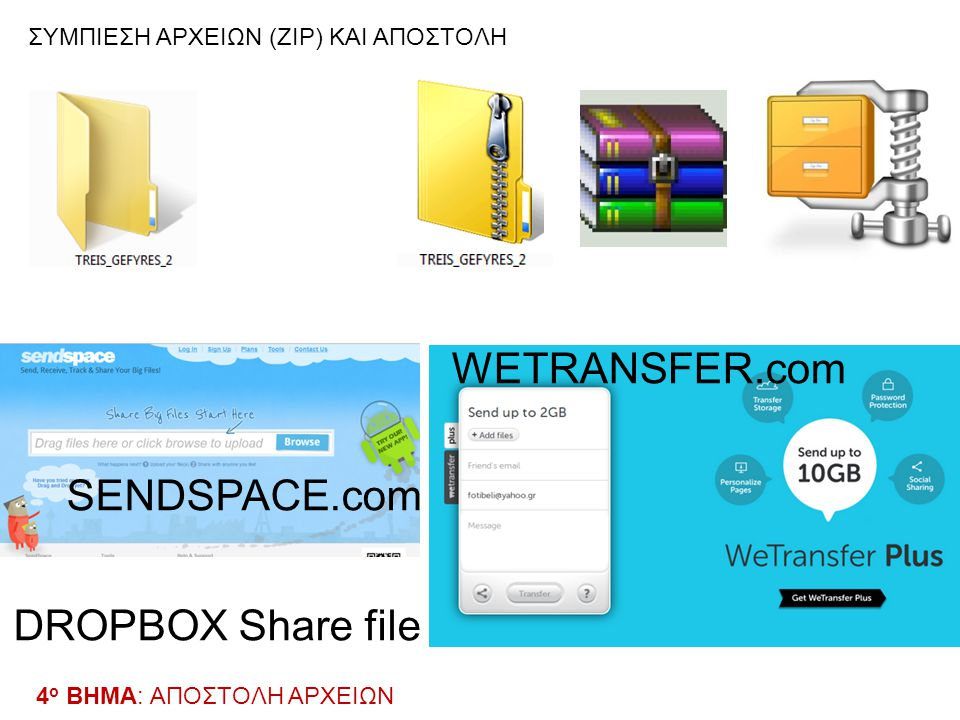 WETRANSFER.com SENDSPACE.com DROPBOX Share file