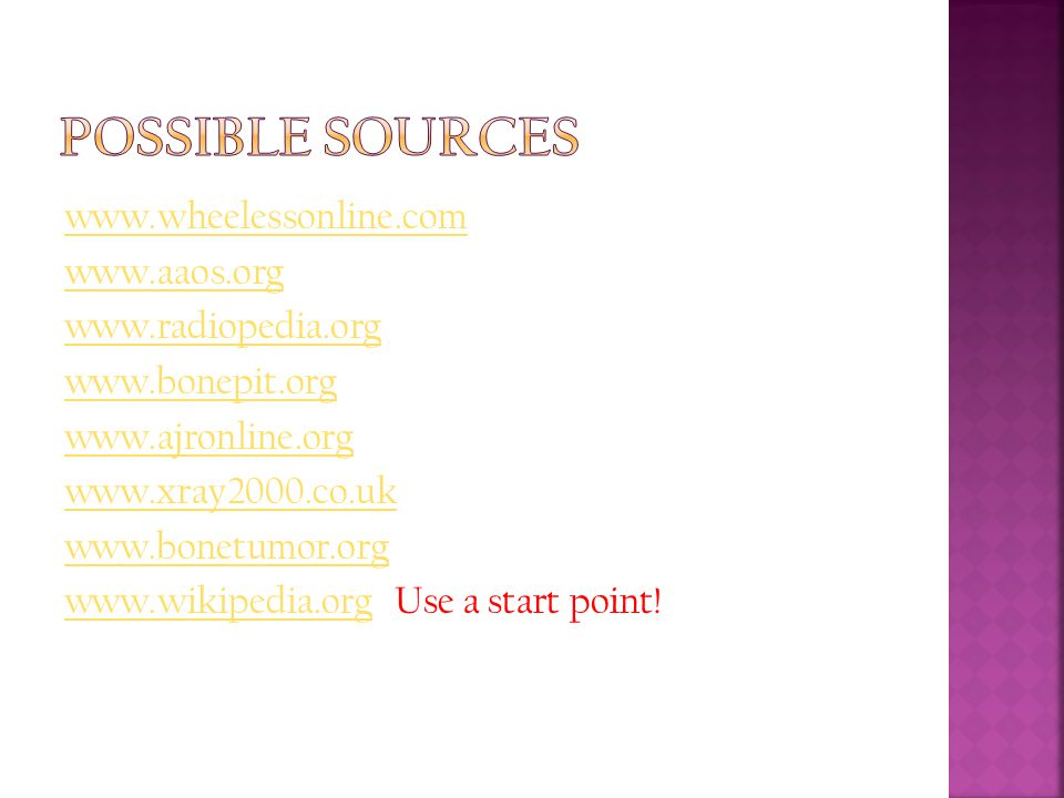 Possible Sources