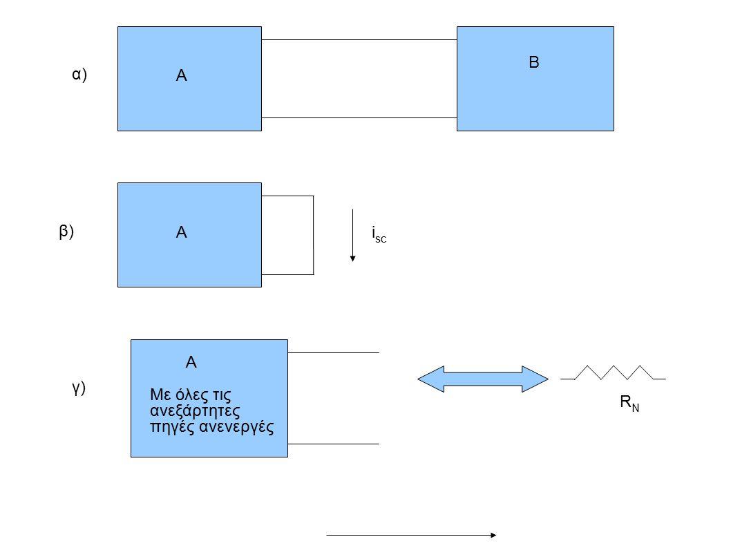 Β α) Α β) Α isc A Με όλες τις ανεξάρτητες πηγές ανενεργές γ) RN