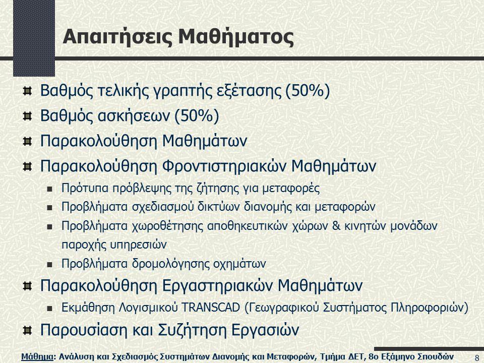 Απαιτήσεις Μαθήματος Βαθμός τελικής γραπτής εξέτασης (50%)