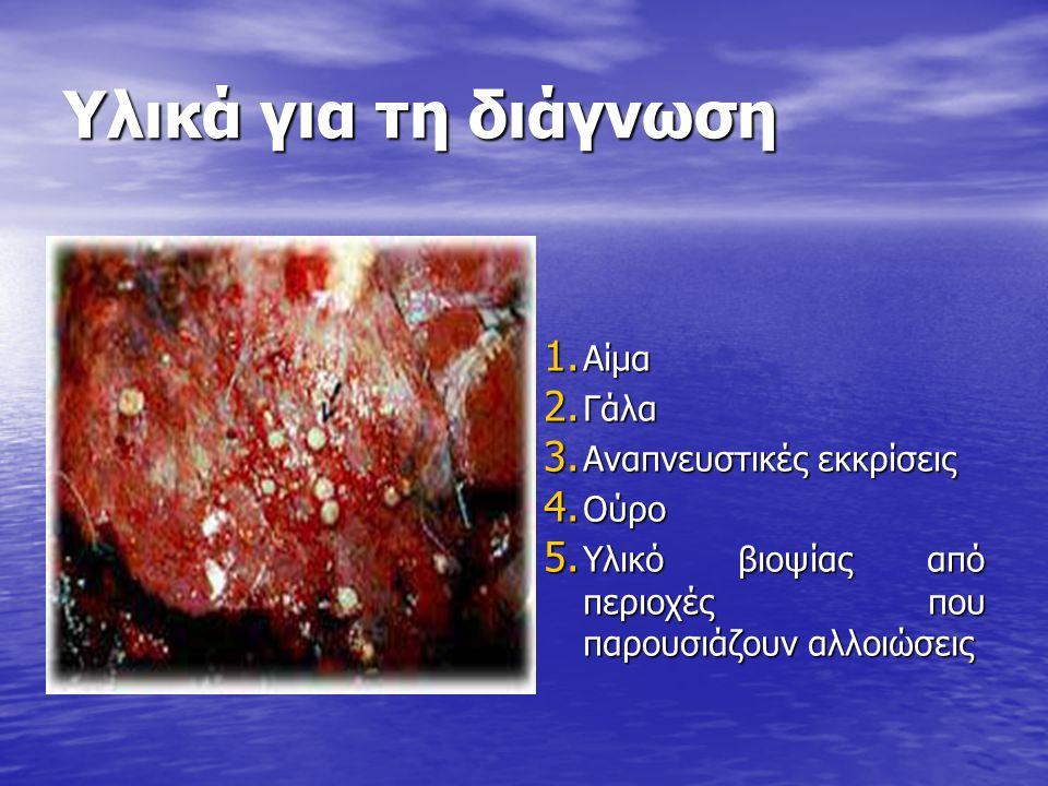 Υλικά για τη διάγνωση Αίμα Γάλα Αναπνευστικές εκκρίσεις Ούρο