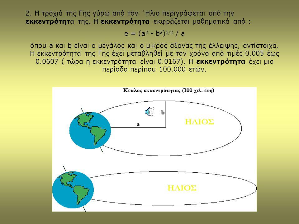 2. Η τροχιά της Γης γύρω από τον ΄Ηλιο περιγράφεται από την εκκεντρότητα της. Η εκκεντρότητα εκφράζεται μαθηματικά από :