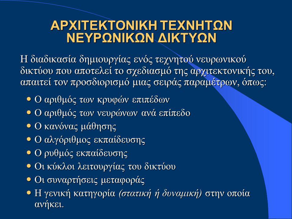 ΑΡΧΙΤΕΚΤΟΝΙΚΗ ΤΕΧΝΗΤΩΝ ΝΕΥΡΩΝΙΚΩΝ ΔΙΚΤΥΩΝ