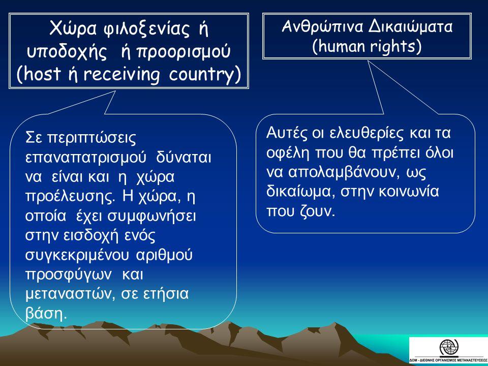 Χώρα φιλοξενίας ή υποδοχής ή προορισμού (host ή receiving country)