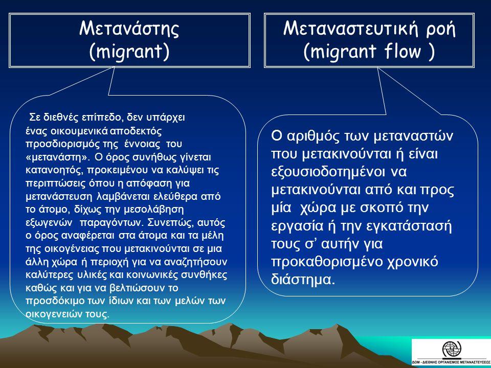 Μετανάστης (migrant) Μεταναστευτική ροή (migrant flow )