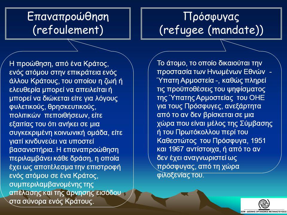 Επαναπροώθηση (refoulement) Πρόσφυγας (refugee (mandate))