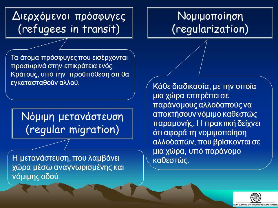 Διερχόμενοι πρόσφυγες (refugees in transit) Νομιμοποίηση