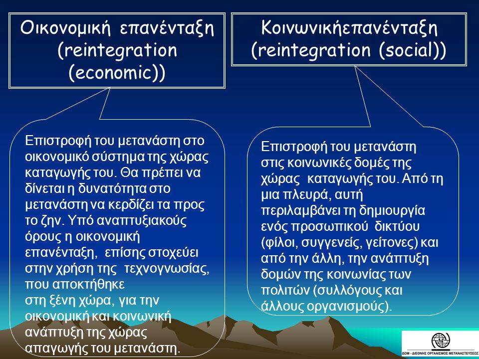 Οικονομική επανένταξη (reintegration (economic)) Κοινωνικήεπανένταξη