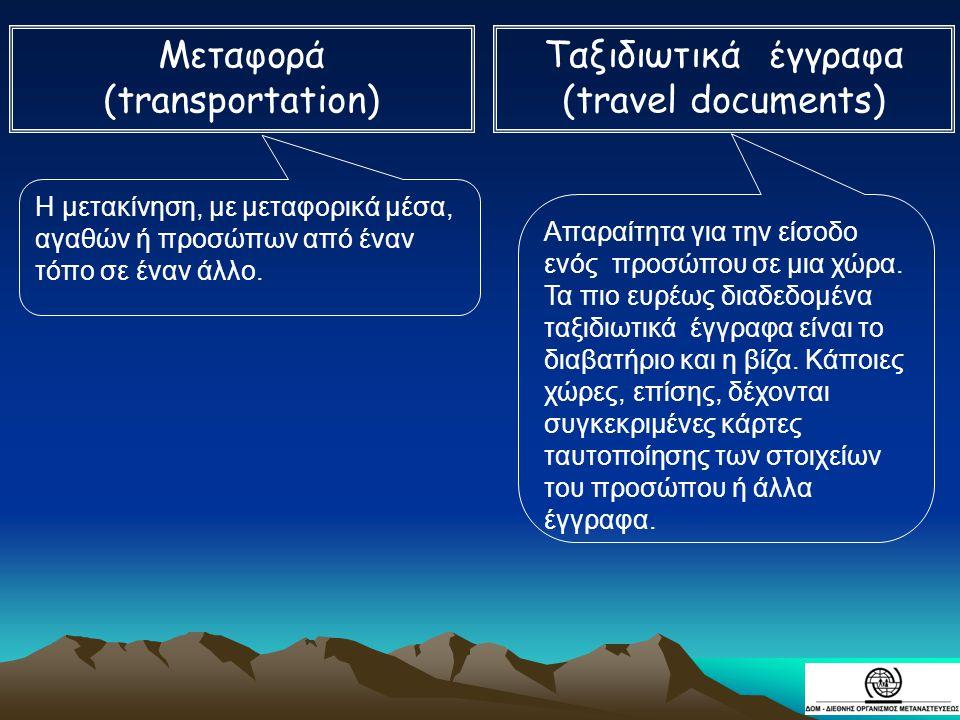 Μεταφορά (transportation) Ταξιδιωτικά έγγραφα (travel documents)