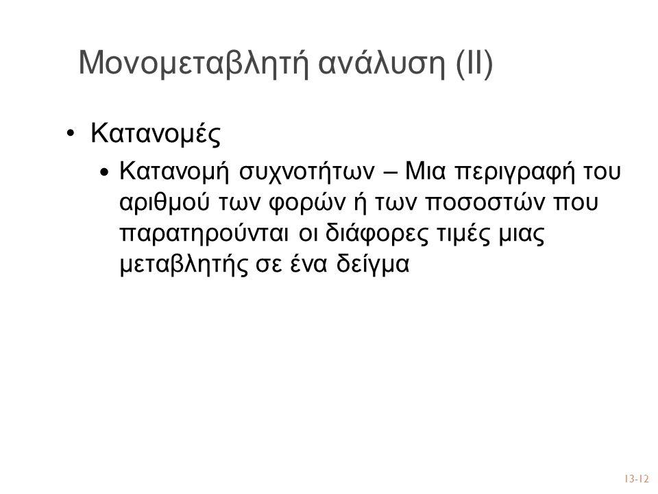 Μονομεταβλητή ανάλυση (ΙΙ)