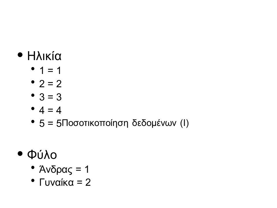 Ηλικία Φύλο 1 = 1 2 = 2 3 = 3 4 = 4 5 = 5Ποσοτικοποίηση δεδομένων (Ι)