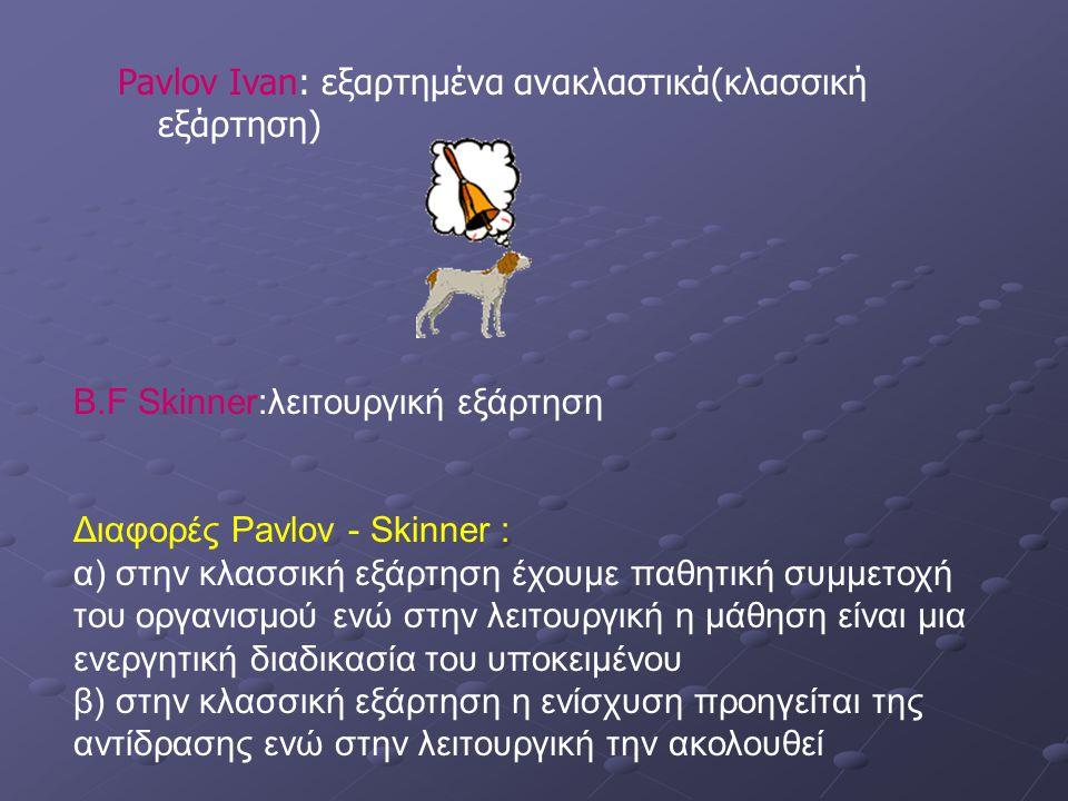 Pavlov Ivan: εξαρτημένα ανακλαστικά(κλασσική εξάρτηση)