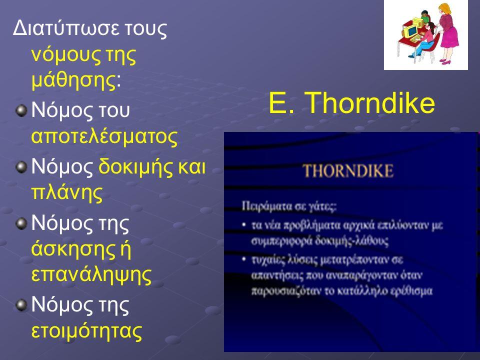 E. Thorndike Διατύπωσε τους νόμους της μάθησης: