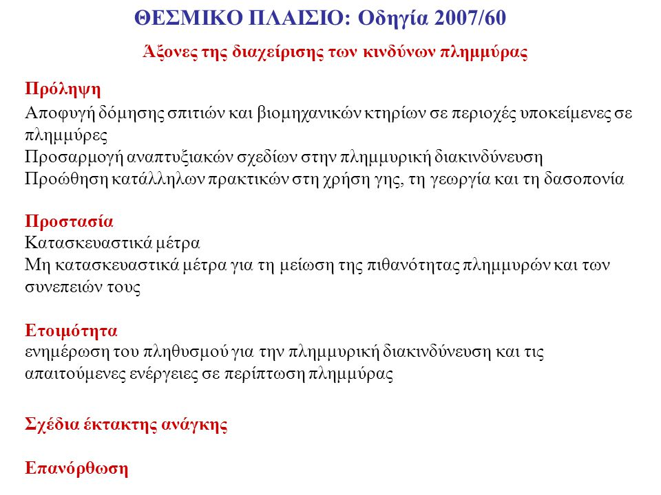 ΘΕΣΜΙΚΟ ΠΛΑΙΣΙΟ: Οδηγία 2007/60