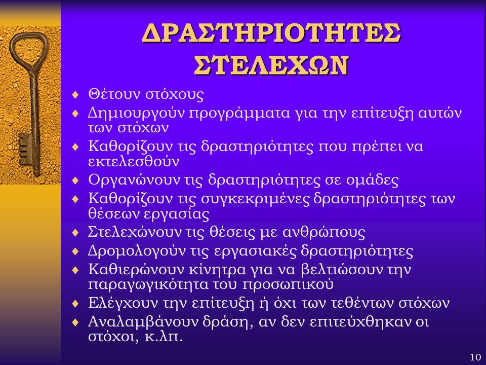 ΔΡΑΣΤΗΡΙΟΤΗΤΕΣ ΣΤΕΛΕΧΩΝ