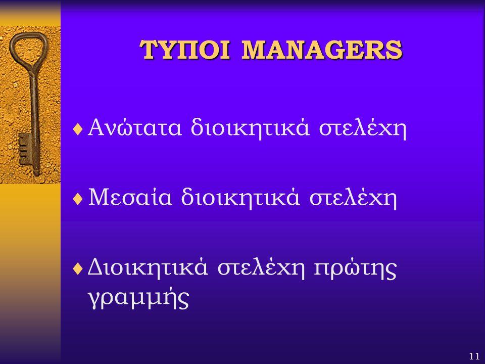 ΤΥΠΟΙ MANAGERS Ανώτατα διοικητικά στελέχη Μεσαία διοικητικά στελέχη