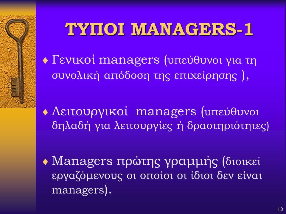 ΤΥΠΟΙ MANAGERS-1 Γενικοί managers (υπεύθυνοι για τη συνολική απόδοση της επιχείρησης ),