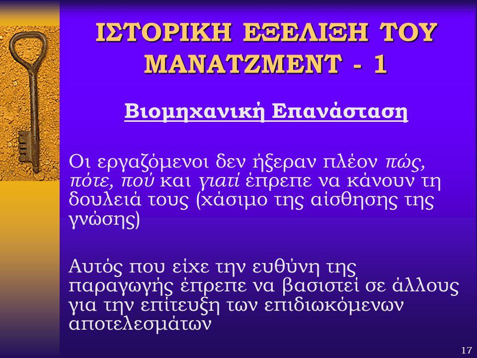 ΙΣΤΟΡΙΚΗ ΕΞΕΛΙΞΗ ΤΟΥ ΜΑΝΑΤΖΜΕΝΤ - 1