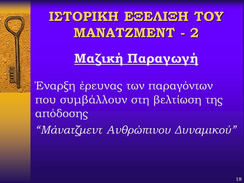 ΙΣΤΟΡΙΚΗ ΕΞΕΛΙΞΗ ΤΟΥ ΜΑΝΑΤΖΜΕΝΤ - 2