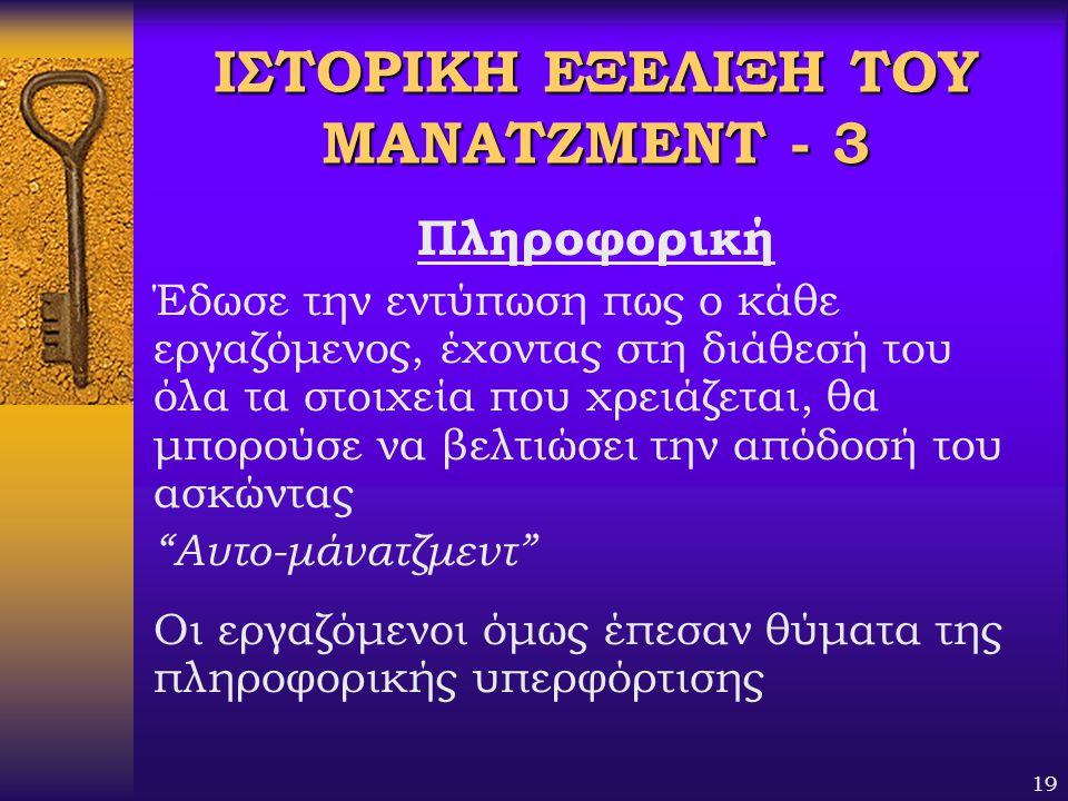 ΙΣΤΟΡΙΚΗ ΕΞΕΛΙΞΗ ΤΟΥ ΜΑΝΑΤΖΜΕΝΤ - 3