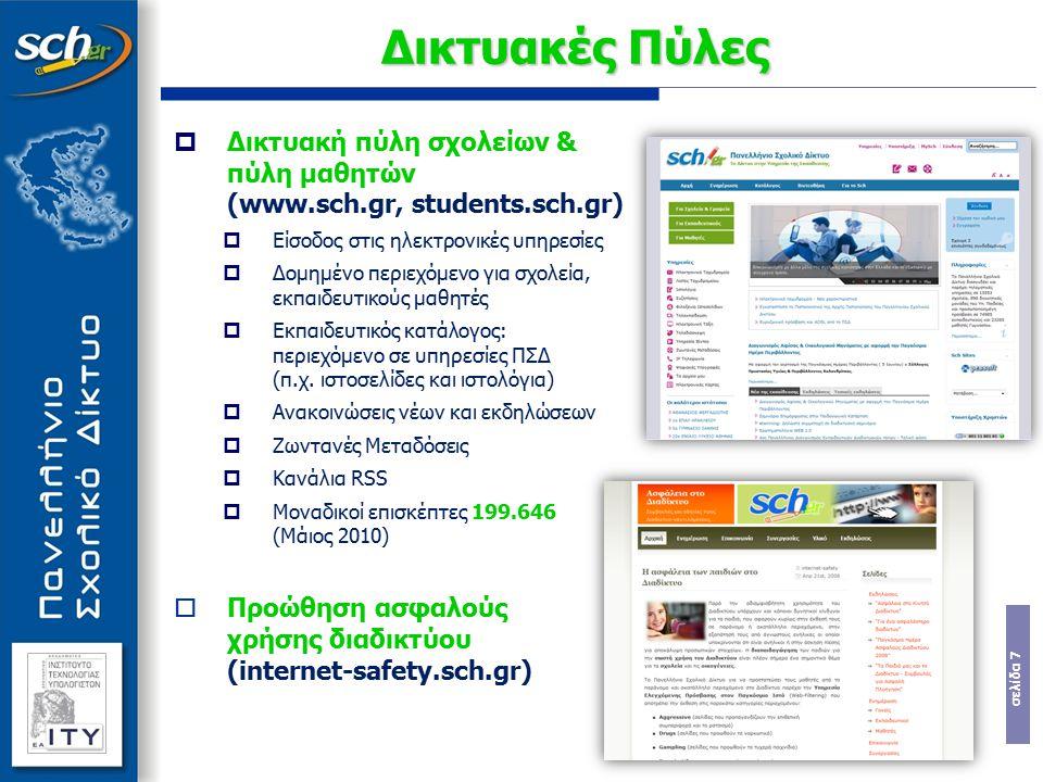 Δικτυακές Πύλες Δικτυακή πύλη σχολείων & πύλη μαθητών (www.sch.gr, students.sch.gr) Είσοδος στις ηλεκτρονικές υπηρεσίες.