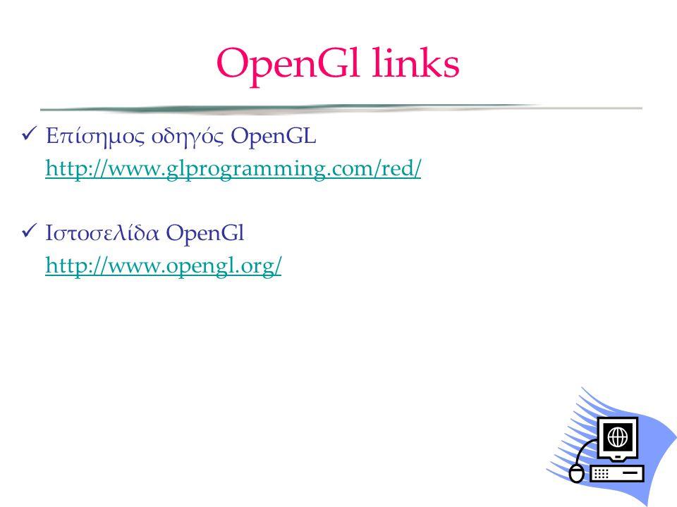 OpenGl links Επίσημος οδηγός OpenGL http://www.glprogramming.com/red/
