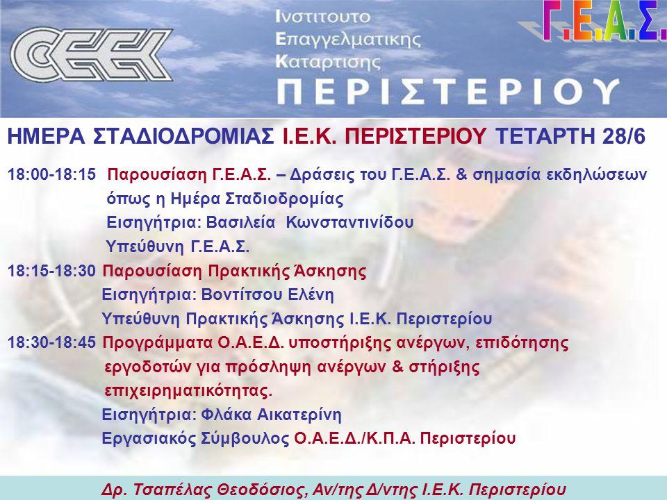 Δρ. Τσαπέλας Θεοδόσιος, Αν/της Δ/ντης Ι.Ε.Κ. Περιστερίου